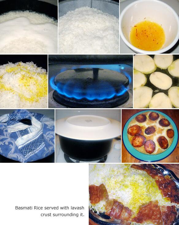 Basmati Rice with Potato Crust Detail