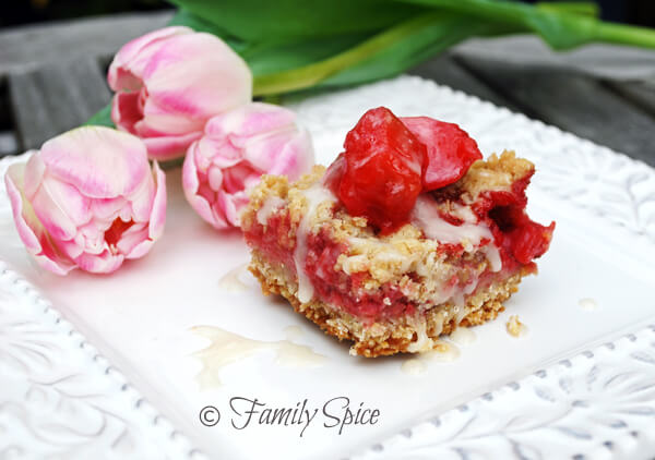 Strawberry Rhubarb Bars with Ginger Icing by FamilySpice.com