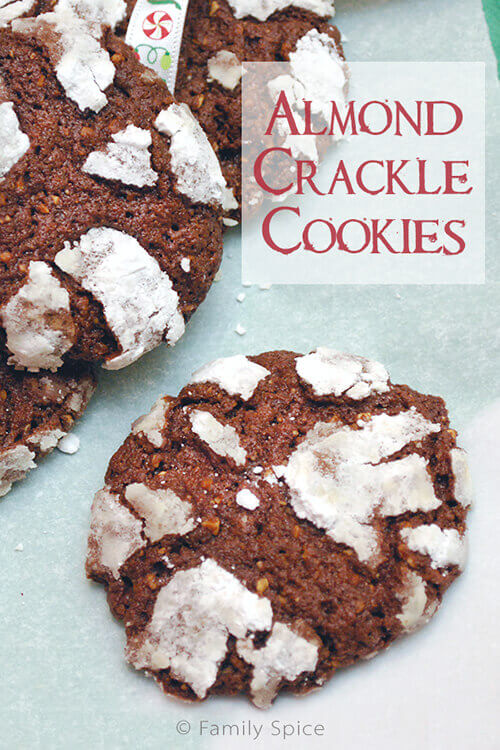 Chocolate Almond Crackle Cookies by FamilySpice.com