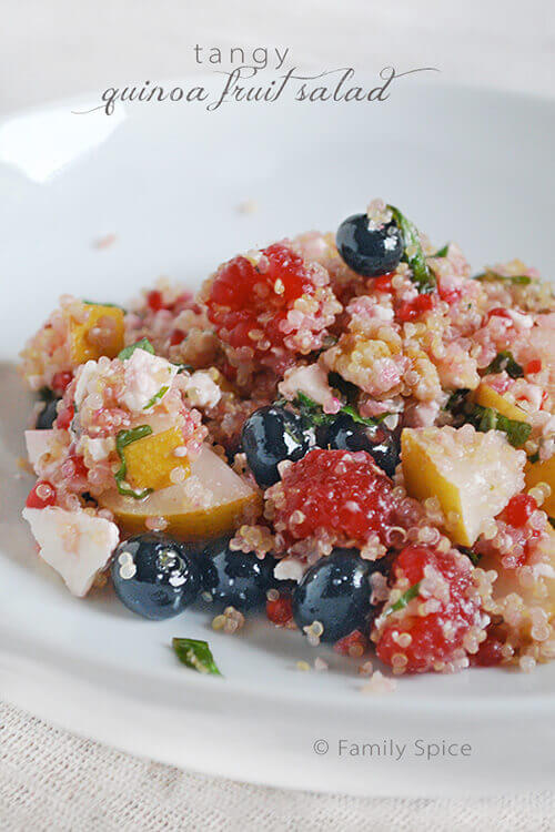 Tangy Quinoa Fruit Salad with Feta by FamilySpice.com