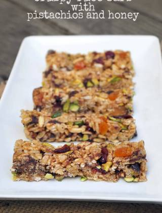 A Healthier Snack: No Bake Crispy Rice Bars with Pistachios and Honey