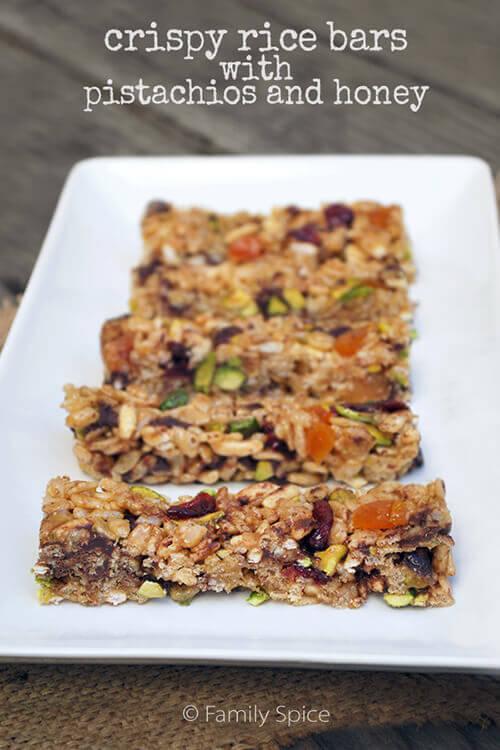 No Bake Crispy Rice Bars with Pistachios and Honey by FamilySpice.com