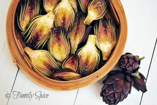 Tequila Lime Artichokes made with Baby Purple Artichokes by FamilySpice.com