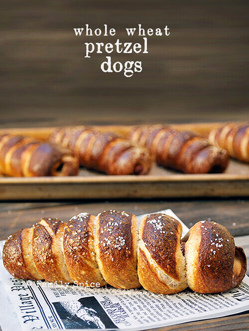 Whole Wheat Pretzel Dogs by FamilySpice.com