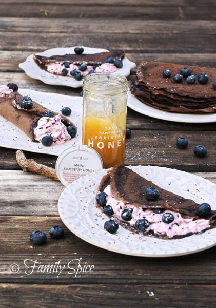 Dark Chocolate Crepes with Blueberry Cream by FamilySpice.com