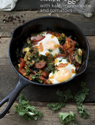Healthy Breakfast: Baked Eggs with Kale and Mushrooms