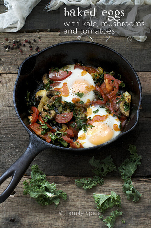 Baked Eggs with Kale and Mushrooms by FamilySpice.com