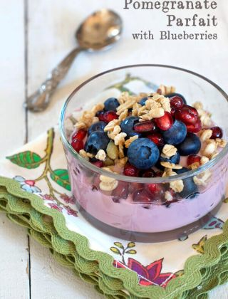 Pomegranate Yogurt Parfait with Blueberries