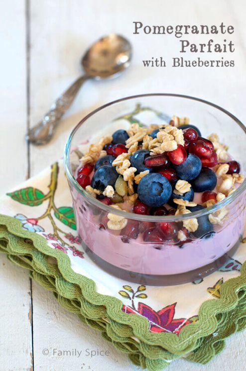 Pomegranate Yogurt Parfait with Blueberries by FamilySpice.com