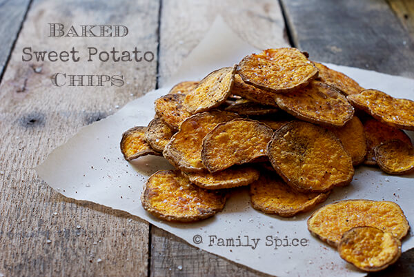 Low Carb Snack: Baked Sweet Potato Chips by FamilySpice.com
