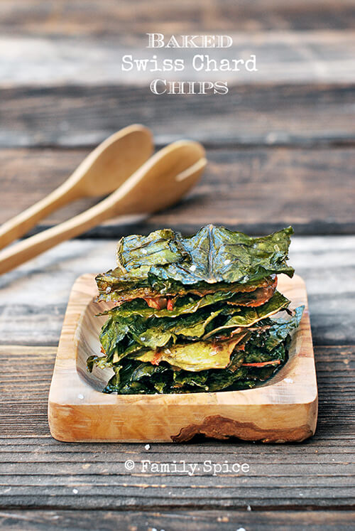 Low Carb Snack: Baked Swiss Chard Chips by FamilySpice.com