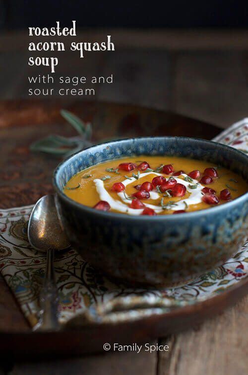 Roasted Acorn Squash Soup with Sage and Sour Cream by FamilySpice.com