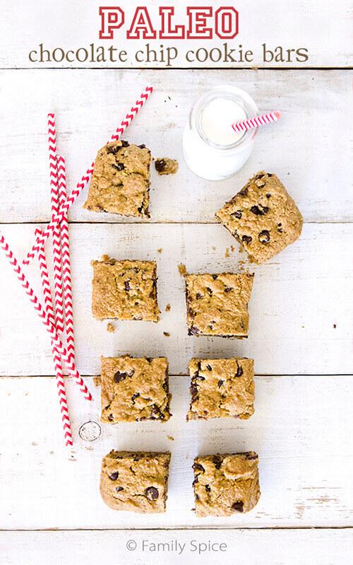 Paleo Chocolate Chip Cookie Bars by FamilySpice.com