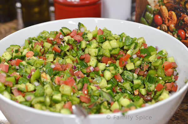 Fresh chopped salad from Pomegranates and Saffron Cookbook by Feride Buyuran