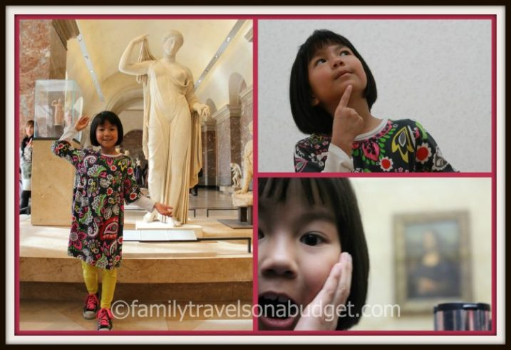Bottom right photo is Ellie's reaction to seeing the Mona Lisa for the first time!