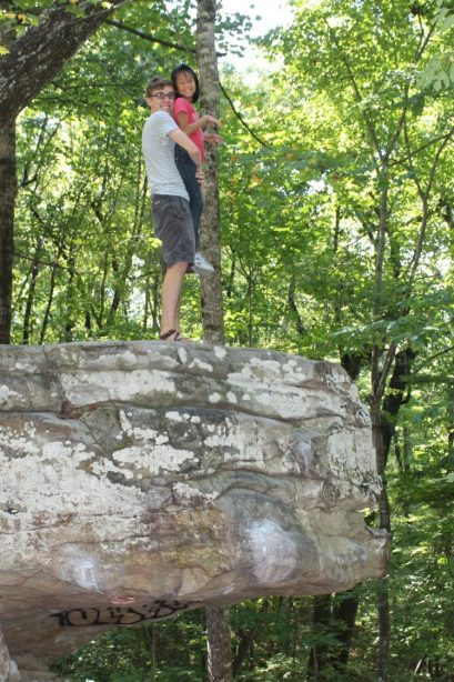 Reenacting the Lion King -- but not too close to the edge, at Ben's request