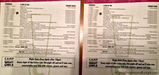 carnival fun ships camp schedule