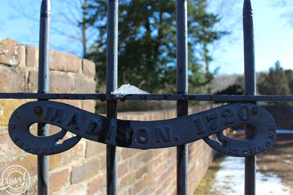 Iron Gate at entrance to Madison's Montpelier Cemetery