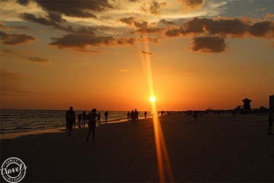 The sun goes down over Siesta Beach