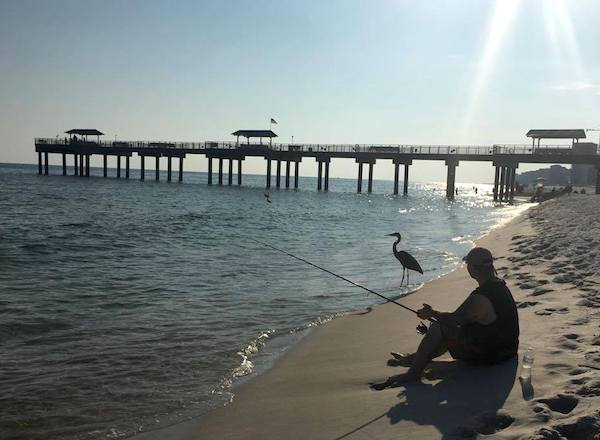 When fishing at the beach in Alabama, Leave Only Footprints