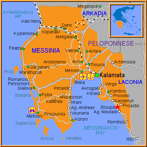 Greek map showing Stoupa
