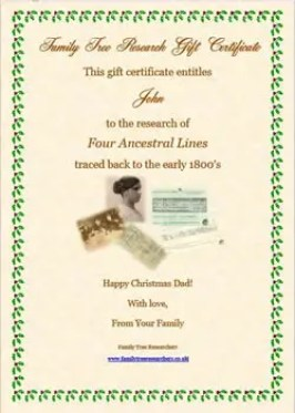 Family Tree Gift Certificate for Christmas