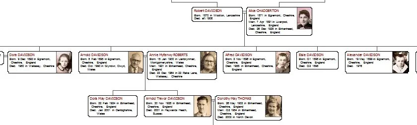 A Family Tree with pictures of individuals inside