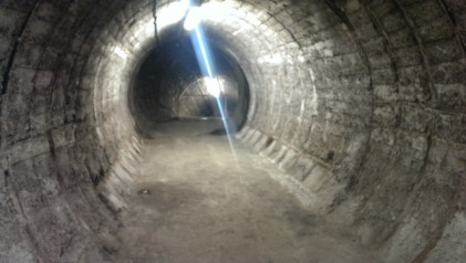 Unfinished pedestrian tunnels, abandoned when it became clear the station wasn't going to grow.