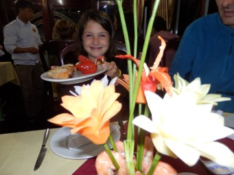 The children loved the thought of edible sculptures. We all ate the carrot flowers.