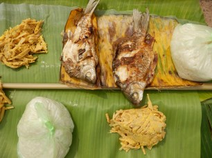 Sticky rice, rive fish (carp I think) and bamboo shoots with egg. Not bad for camping fare.