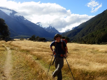 Tramping, with pack.