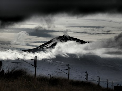 Mt. Ruapehu, with snow and cloud drama