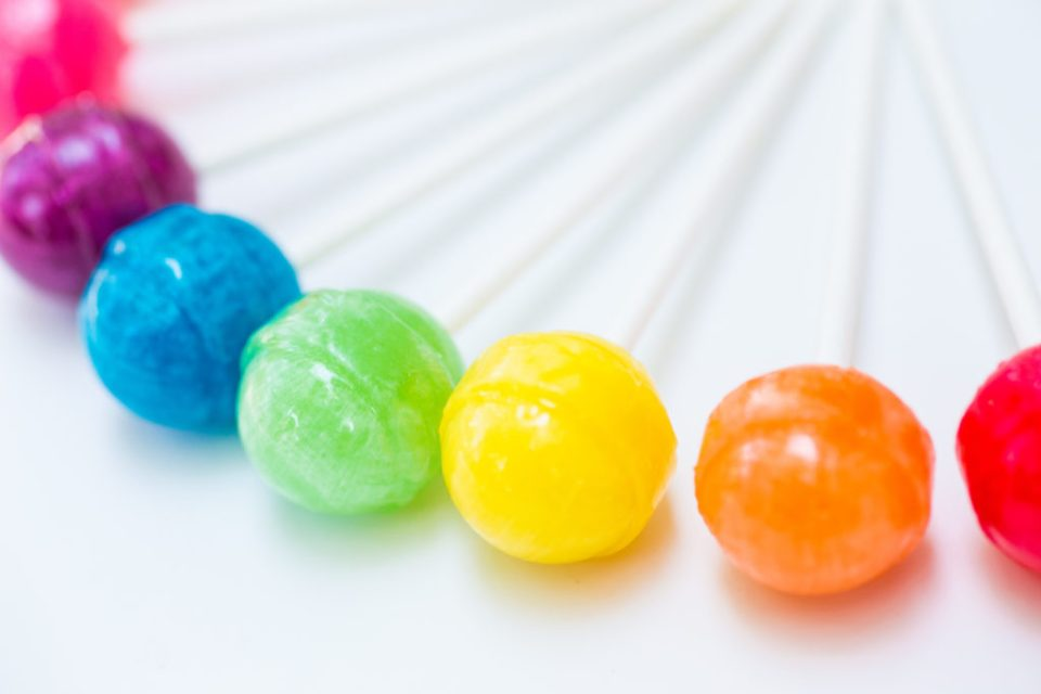 Colorful rainbow of lollipops