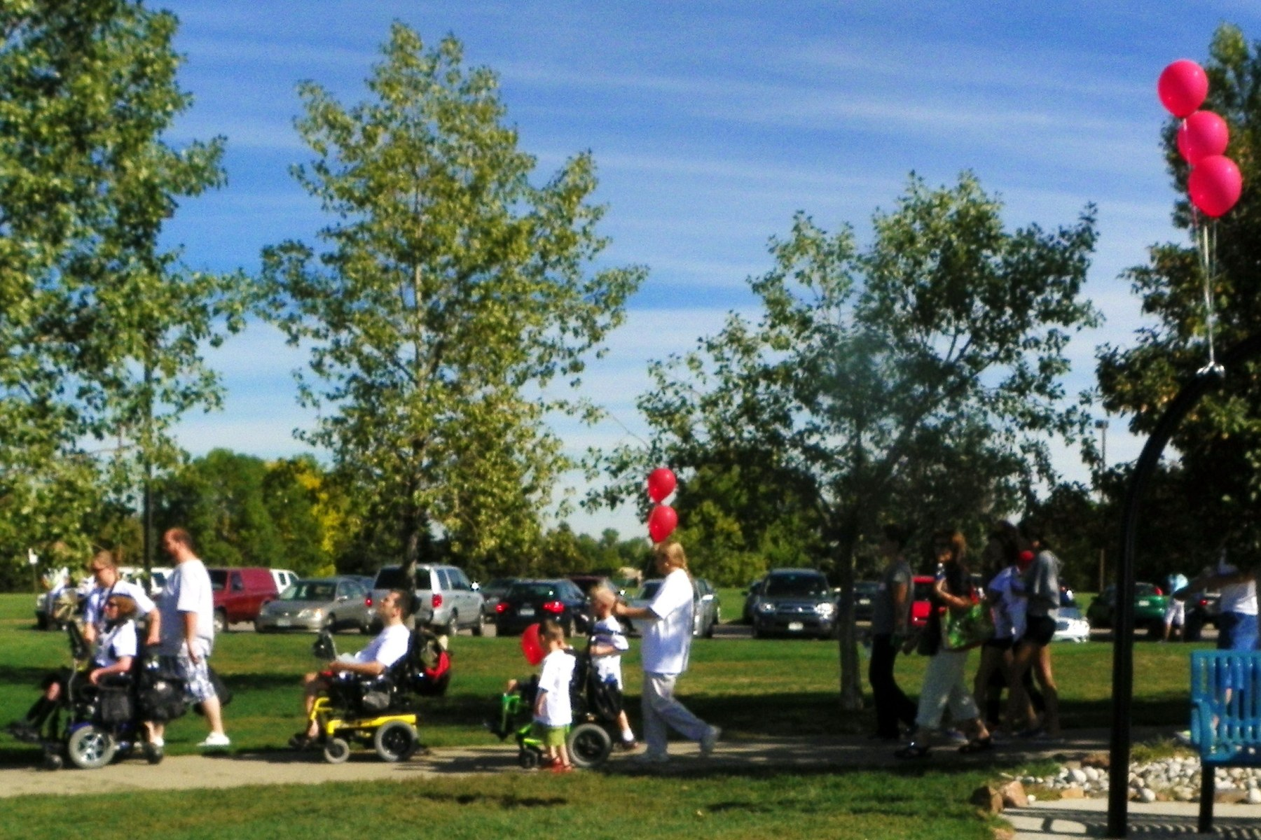 Participants in the 2011 Walk 'n' Roll at Clement Park in Littleton