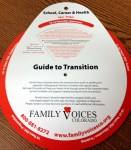 """""""Guide to Transition"""" tool is a paper wheel that displays transition goals and tasks by age and life domain"""