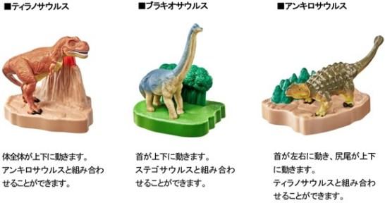 マックのハッピーセット、アニア恐竜フィギュア2016年5月27日からの3種類