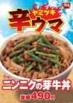 すき家、ニンニクの芽牛丼の価格、カロリー、販売期間