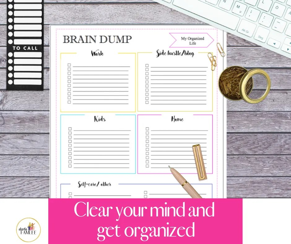 As a mom there can be so many things on your mind. Where sleeping and completing important task becomes daunting. The way to get back in control and set goals then you must first brain dump your thoughts. A powerful strategy to reduce overwhelm. The brain dump strategies has been know to help increase productivity. Click through to grab your free brain dump template and start getting in control today! #braindump #productivity #mombalance