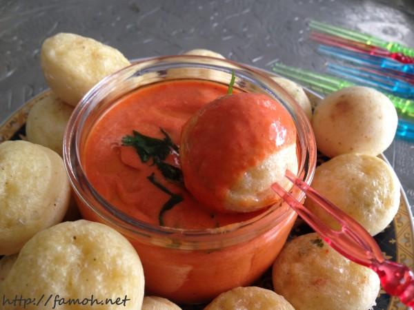 Crème de ricotta aux poivrons rouges.