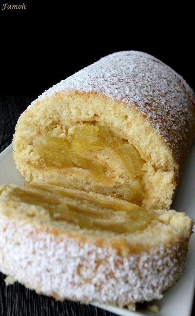 gâteau moelleux roulé aux pommes