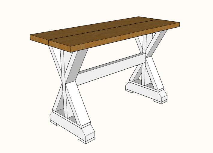 X Base Sofa Table