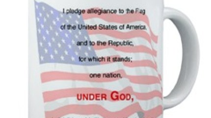 """Pledge of Allegiance mug - """"I pledge allegiance to the flag of the United States of America, and to the Republic for which it stands, one nation, under God, indivisible, with liberty and justice for all."""""""