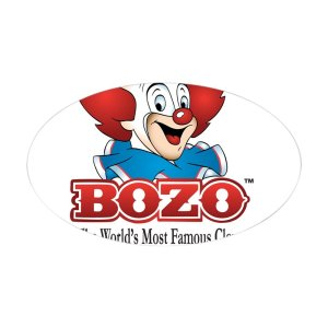Bozo Face Sticker Oval Bumper Sticker