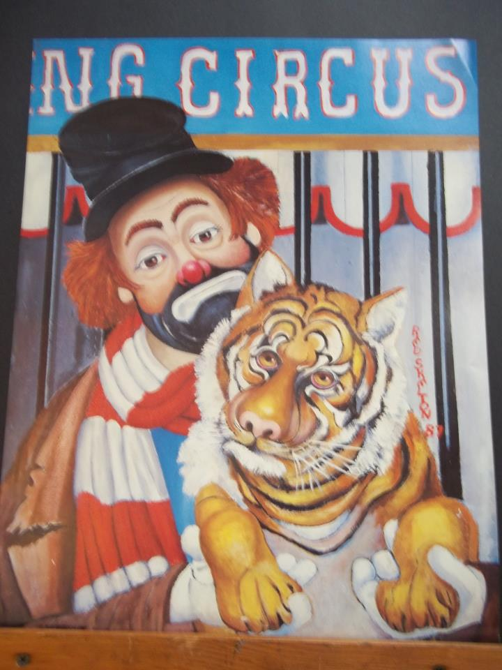 """Red Skelton painting of Freddie the Freeloader, titled """"Hold that Tiger"""""""