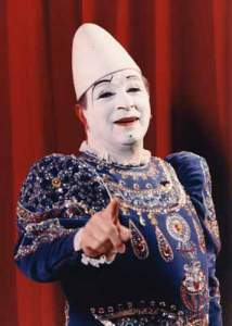 Francesco Caroli, famous European whiteface circus clown, in costume
