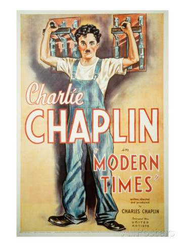 Charlie Chaplin - Modern Times - painting of Charlie working in the factory