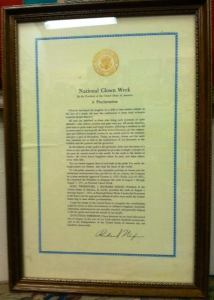 National Clown Week proclamation, signed by U.S. President Richard Nixon, courtesy of the International Clown Hall of Fame