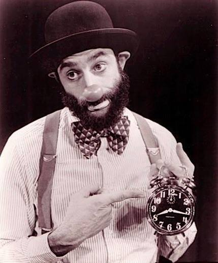 Avner the Eccentric with his clock
