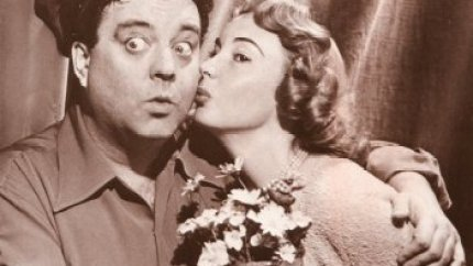 Jackie Gleason kissed by Audrey Meadows