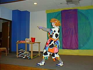 Brenda Ahern, former Ringling Bros. clown, doing her Staff on Stage presentation of Dr. Seuss' Circus McGirkus. She did an excellent presentation, with lots of audience participation. Yes, this is the same Brenda from Basic Physical class.